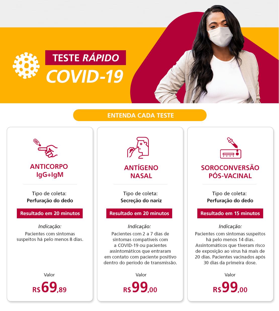 Mulher de máscara para agendamento do COVID-19